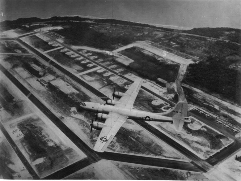 A B-29 flying over North Field, Guam, one of the airfields the 1885th built. PC:  Pacific Air Force