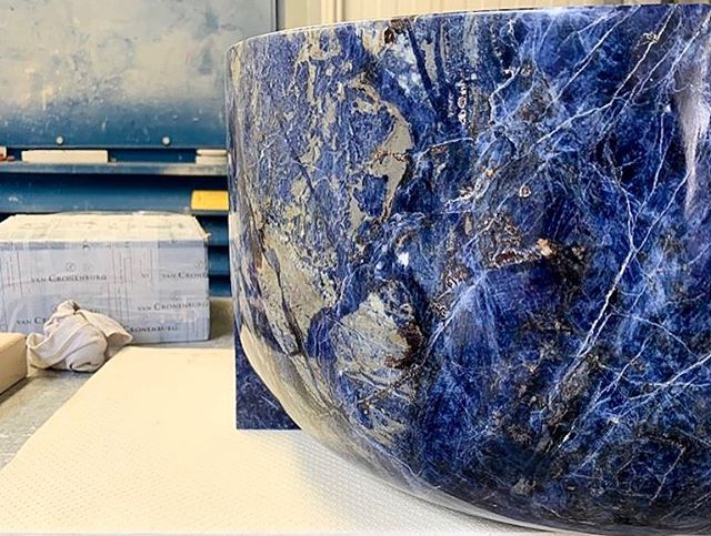 #ingoodFORM: Friendship comes in many ways, from many places.  Keep your heart open: who knows what you'll find? (We found this beautiful block of #Sodalite—and the incredible friend who made this custom sink for the dearest of dears) #BelgiansdoitinBlue #whereitallstarted #idreaminlapis #sinkintoit #bespokedreams