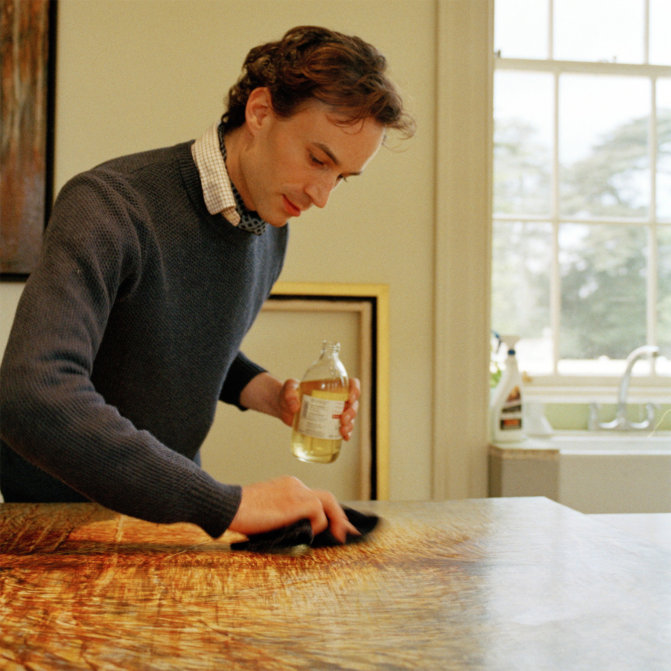 Polishing with Renaissance Wax. Egg Tempera paintings have their own innate luster which the wax protects and brings out.