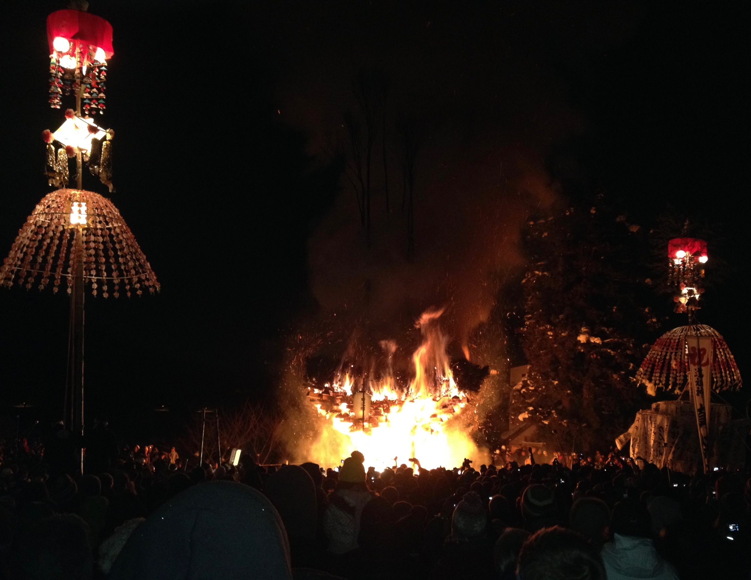 The burning of the structure at the Nosawa Fire Festival