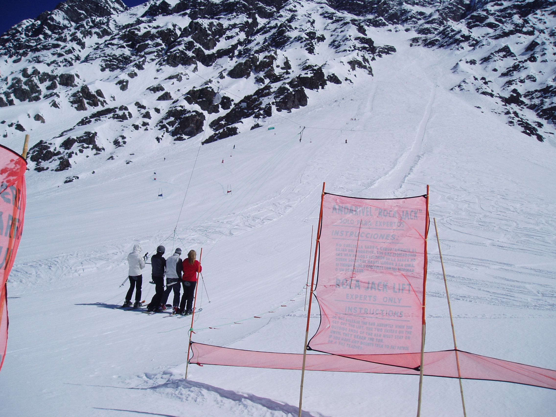 """The infamous """"Roca Jack"""" 5 person platter lift at Portillo is designed to allow avalanches to effectively pass underneath it from the massive terrain above"""