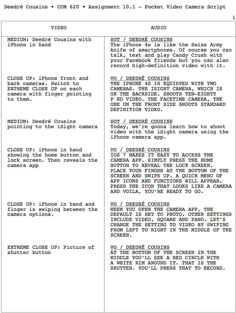 This is an AV Script on how to use a pocket video camera—an iPhone 4s.