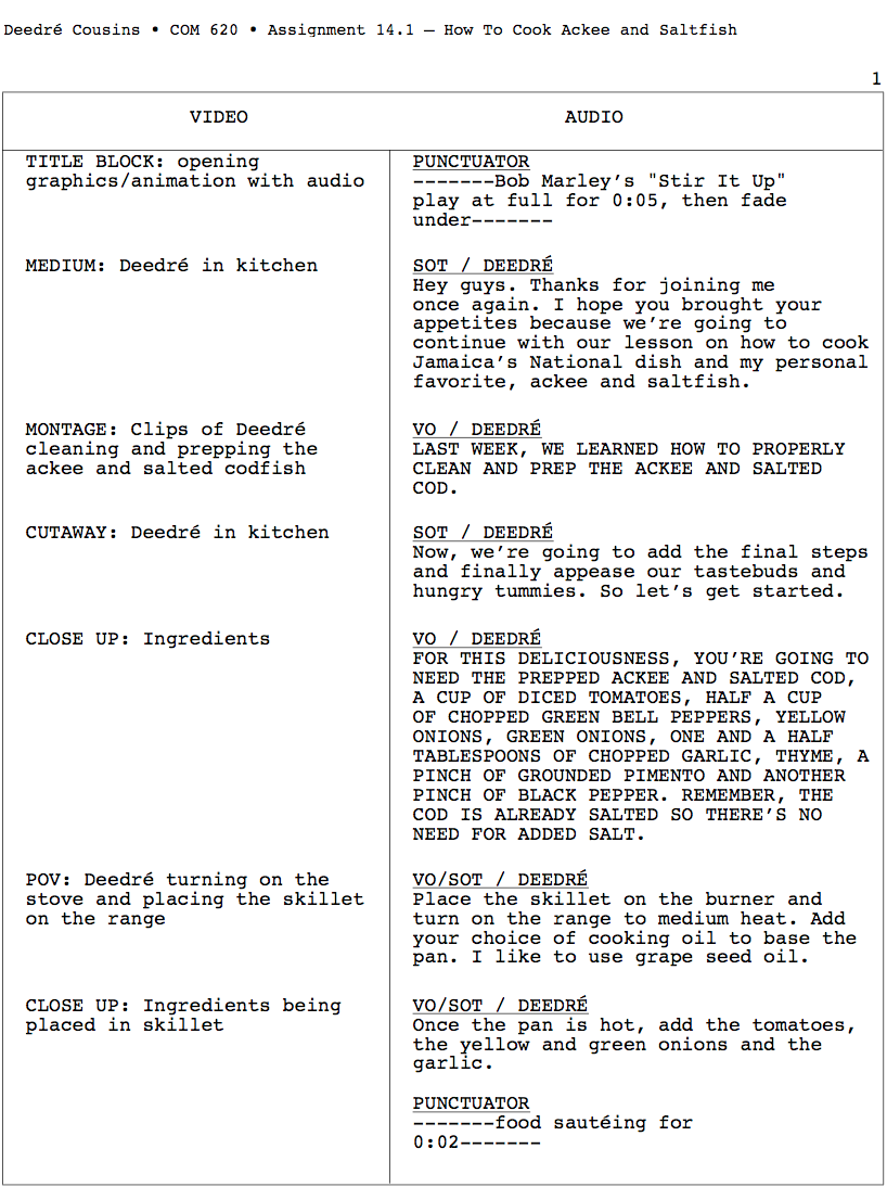 This is an AV script on How To Cook Ackee & Saltfish—the Jamaican National Dish.