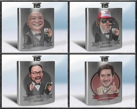 Get your dude's faces on a     flask - One of my favorites. I mean how cool is this. Check it here.