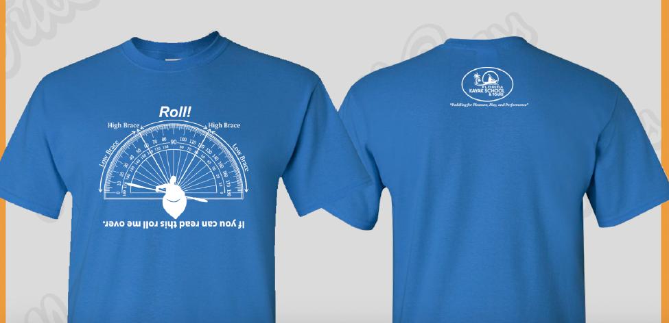 """Roll!"" t-shirts. $18.00. 2beaswater@gmail.com"