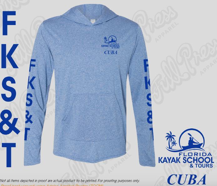 "LIMITED EDITION: FKS&T Ultra-lightweight sun protection hoodie - ""CUBA"". $32.50; sales@FloridaKayakSchool.com; 850.445.3236"