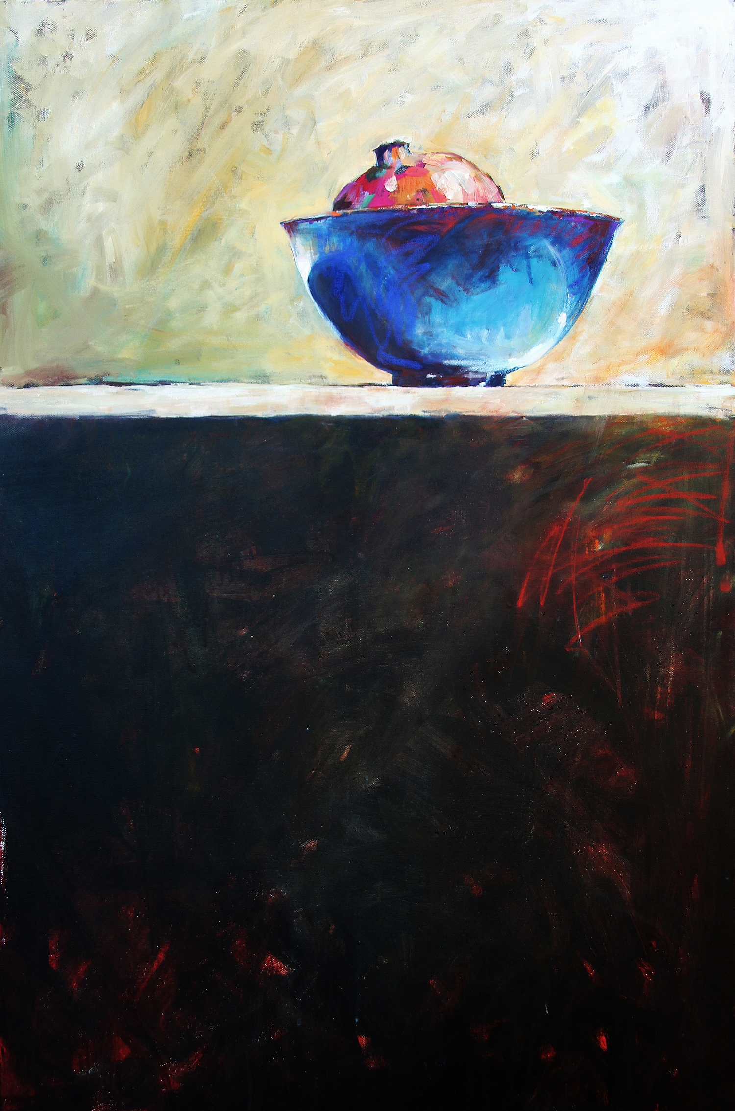 A Pomegranate in a blue bowl