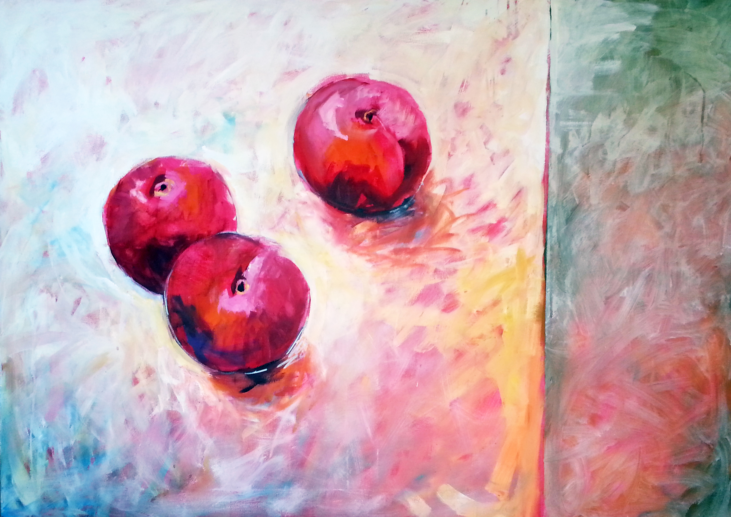Three Plums on a table