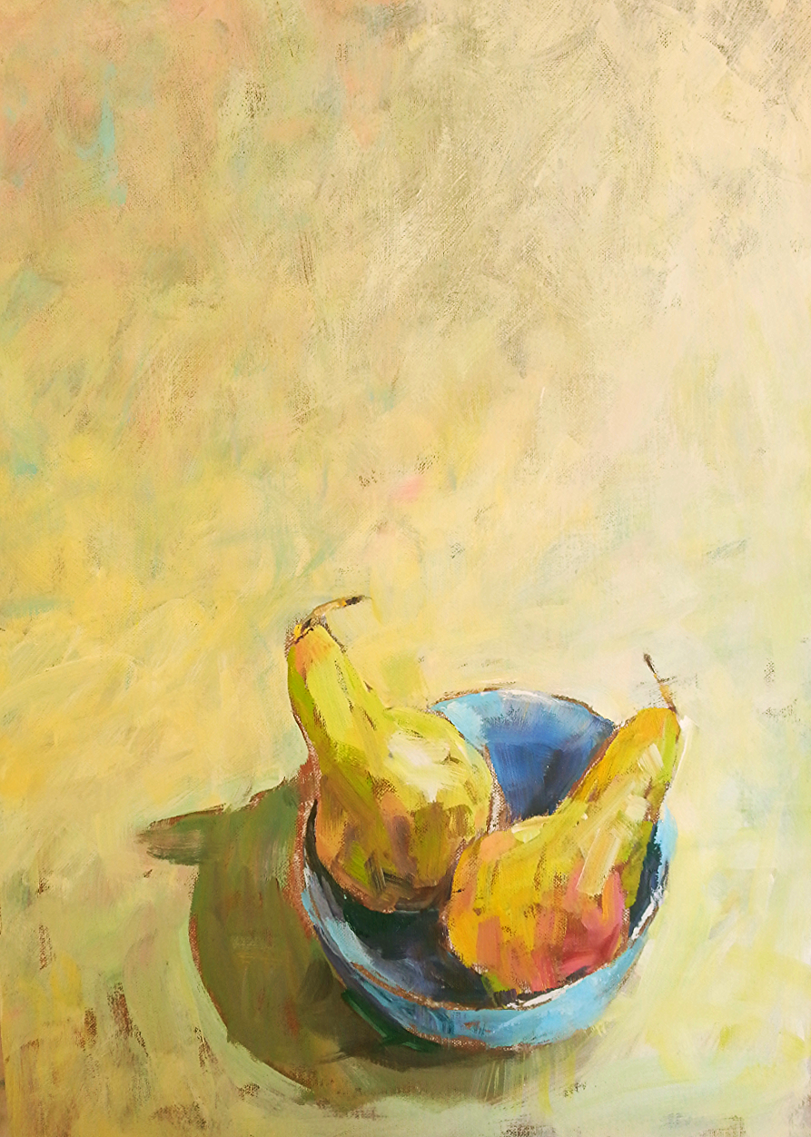 Two Pears in a blue bowl, yellow ground