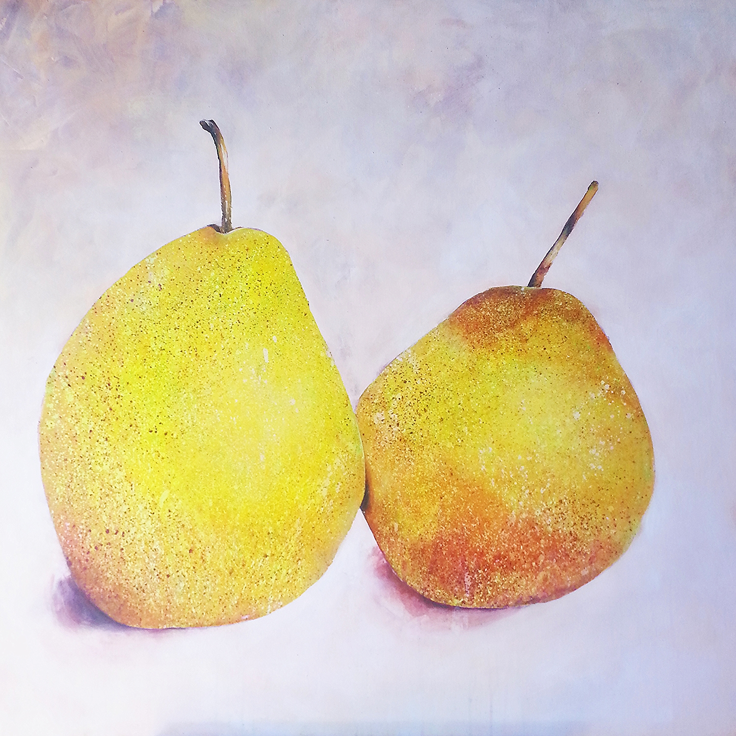 Two Pears, mauve ground