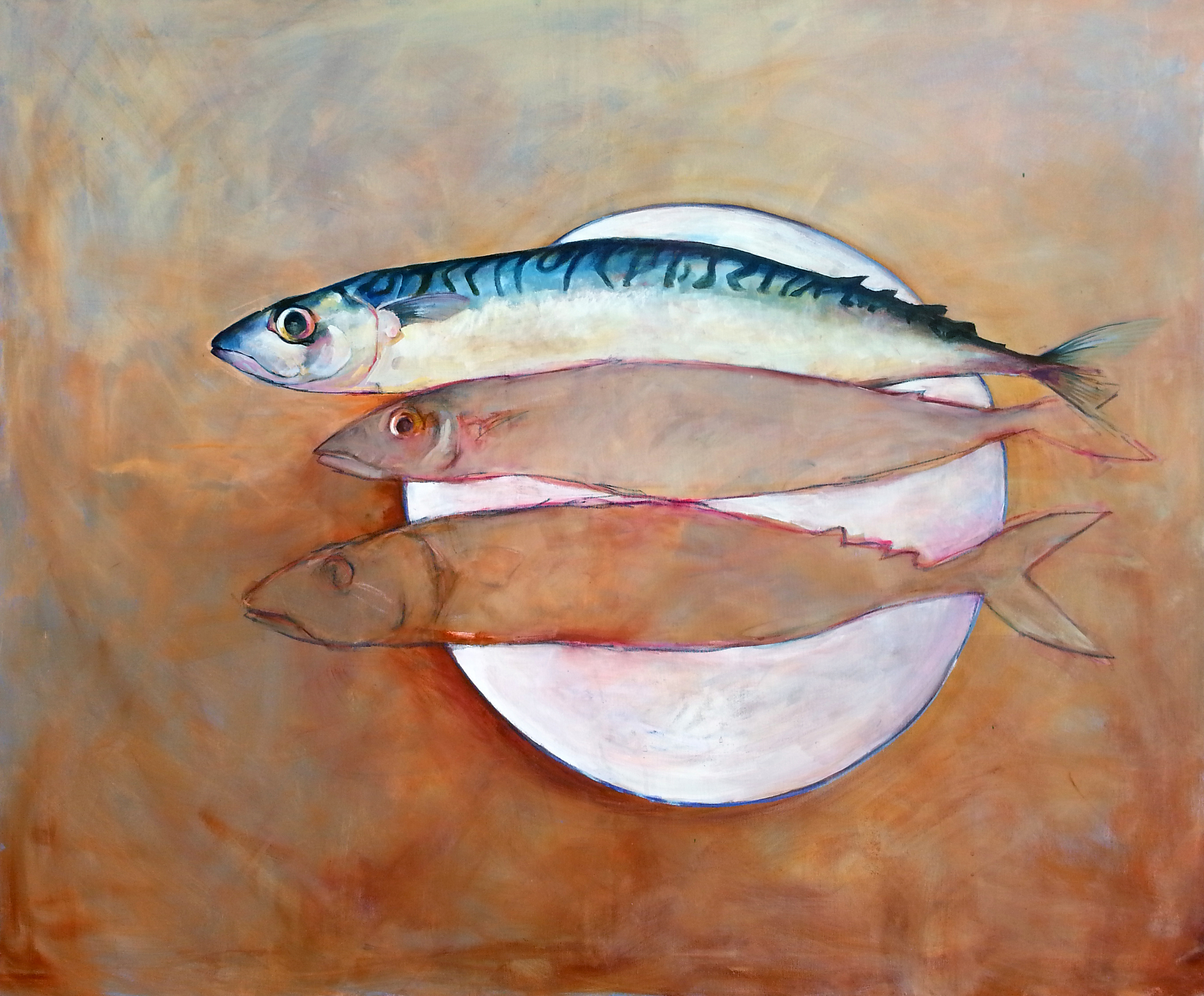 Three Mackerel on a white plate