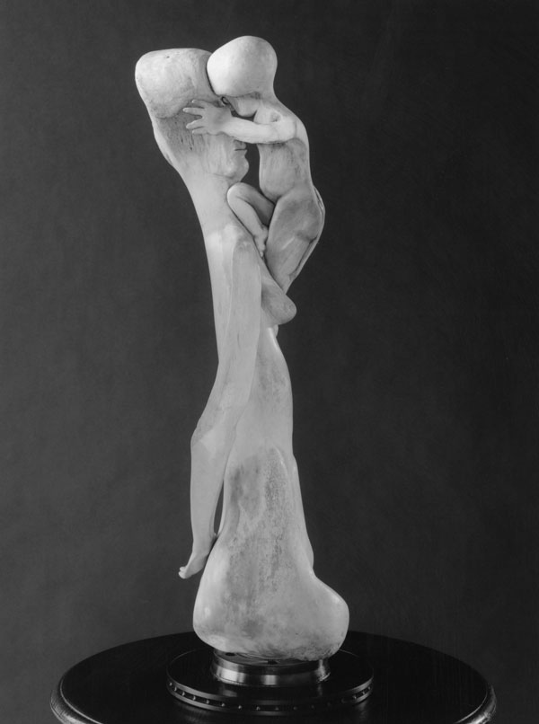 Games (Mother and Child) - Bone Sculpture by Jerry Hardin