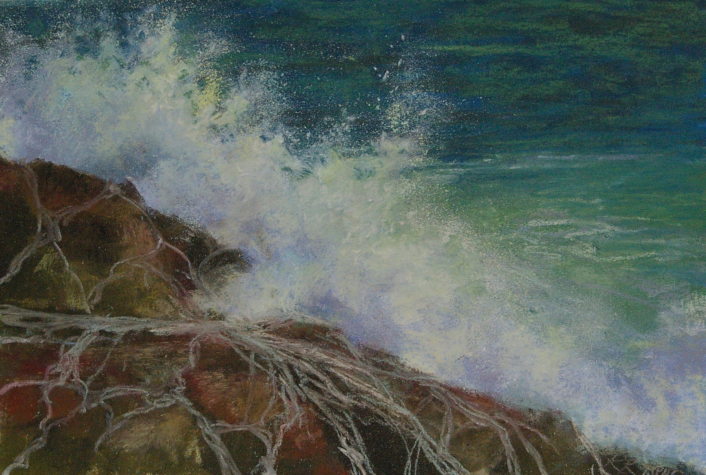 Rock & Splash, pastel on paper, 13 x 20, framed with museum glass, $550