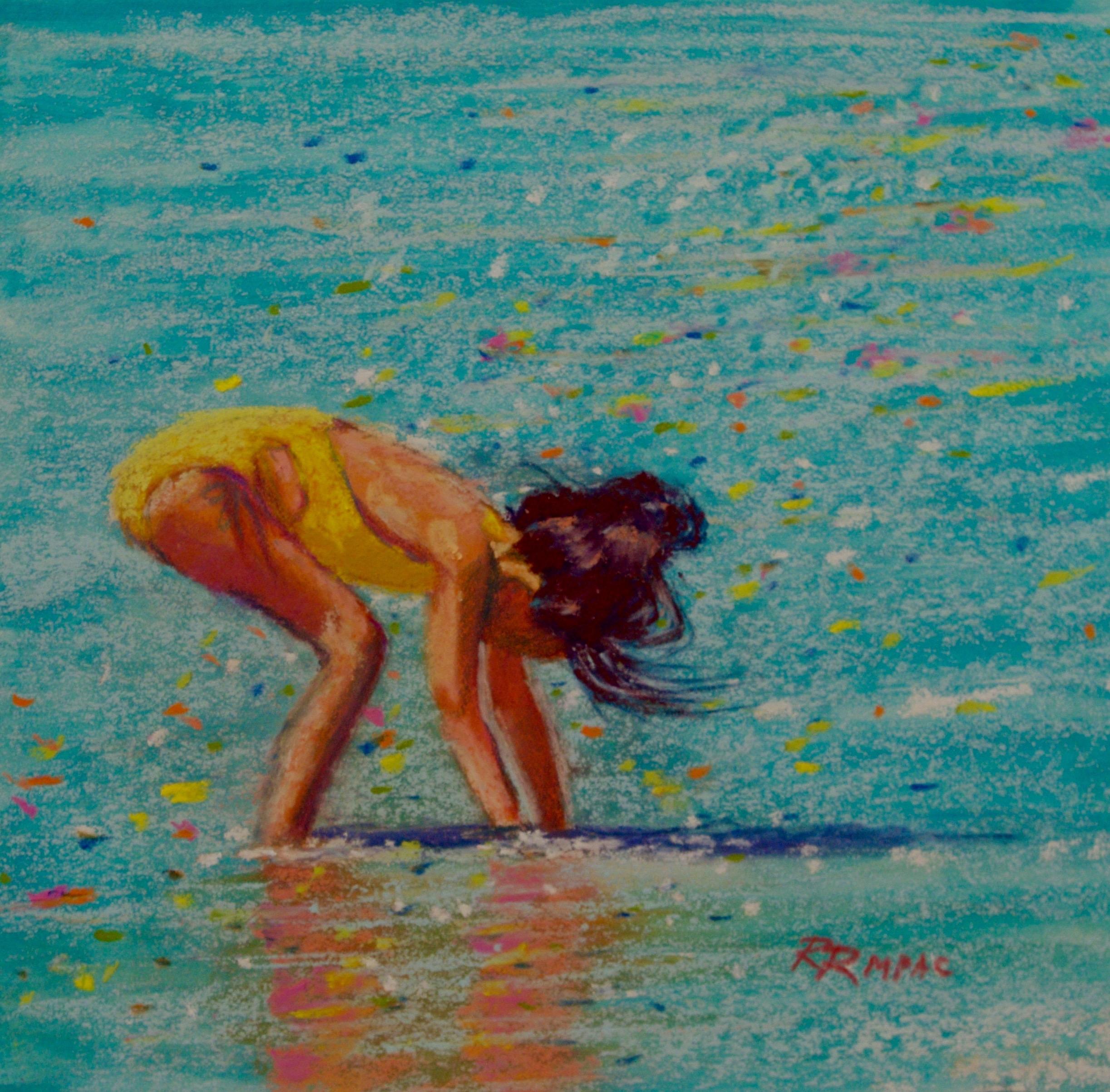 """Summer Sparkle 8"""" x 8"""" framed pastel $195"""