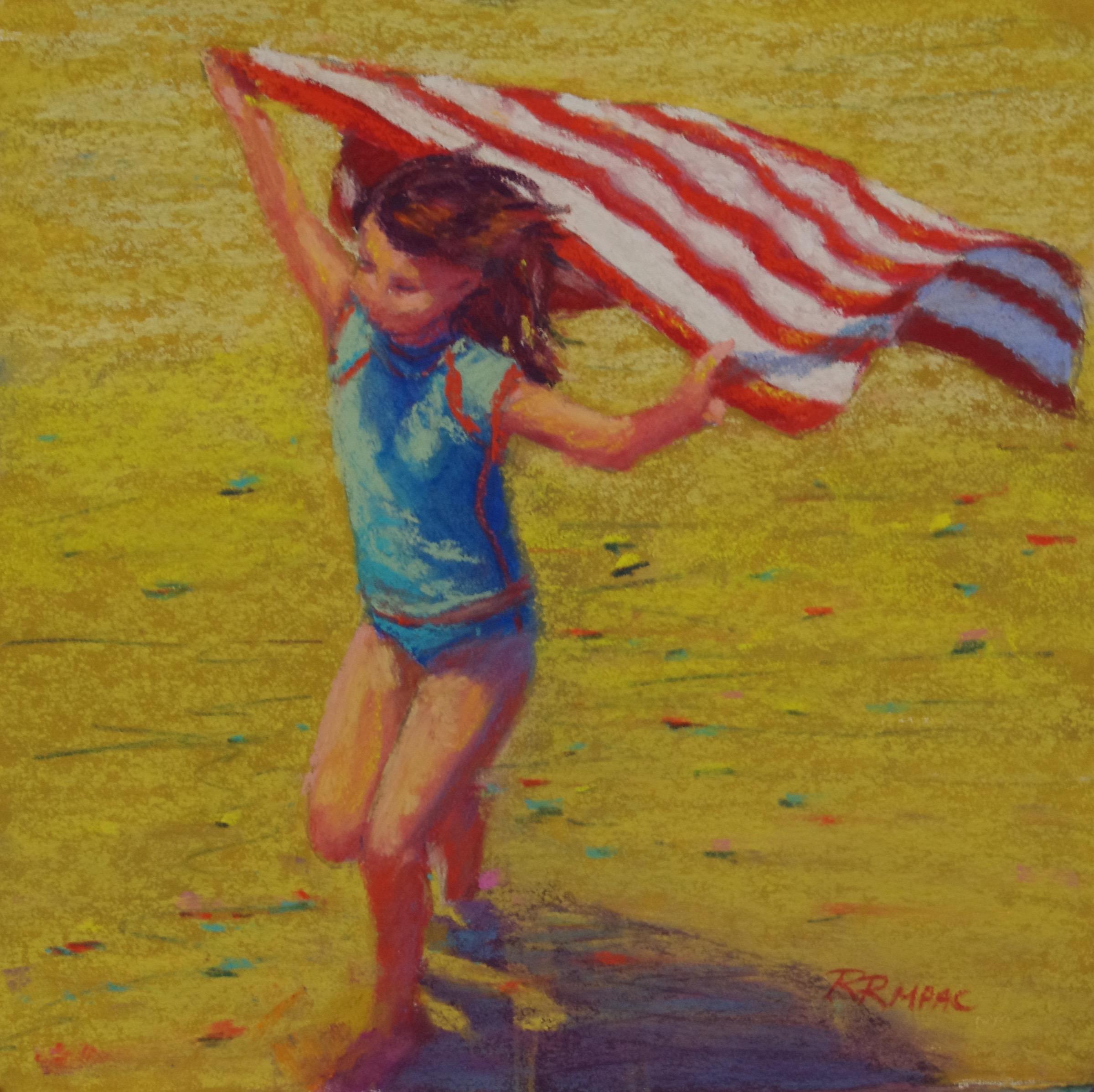 """Super Stripe 8"""" x 8"""" framed pastel $195"""