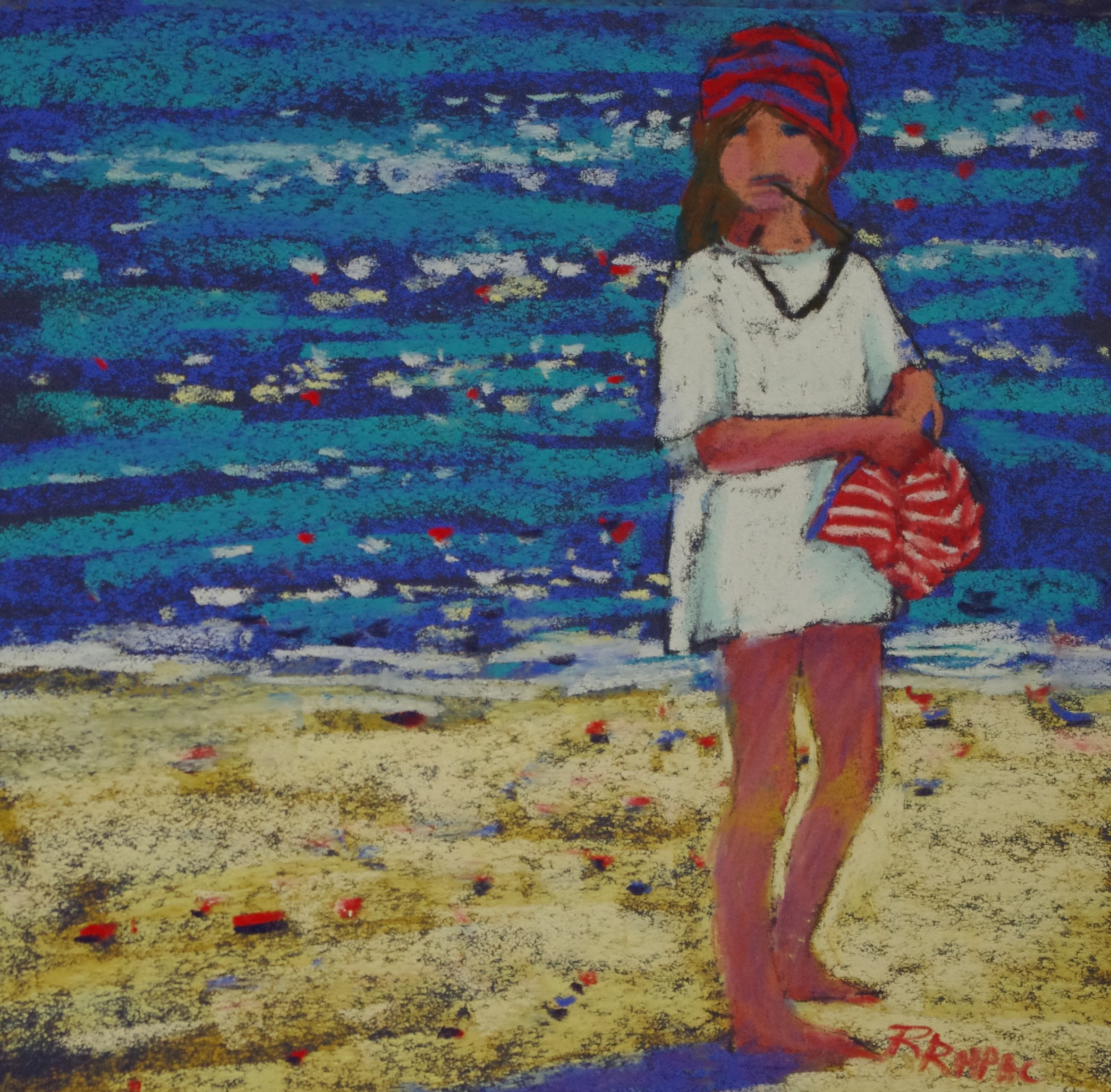 By the Deep Blue Sea pastel 8 x 8 framed $195