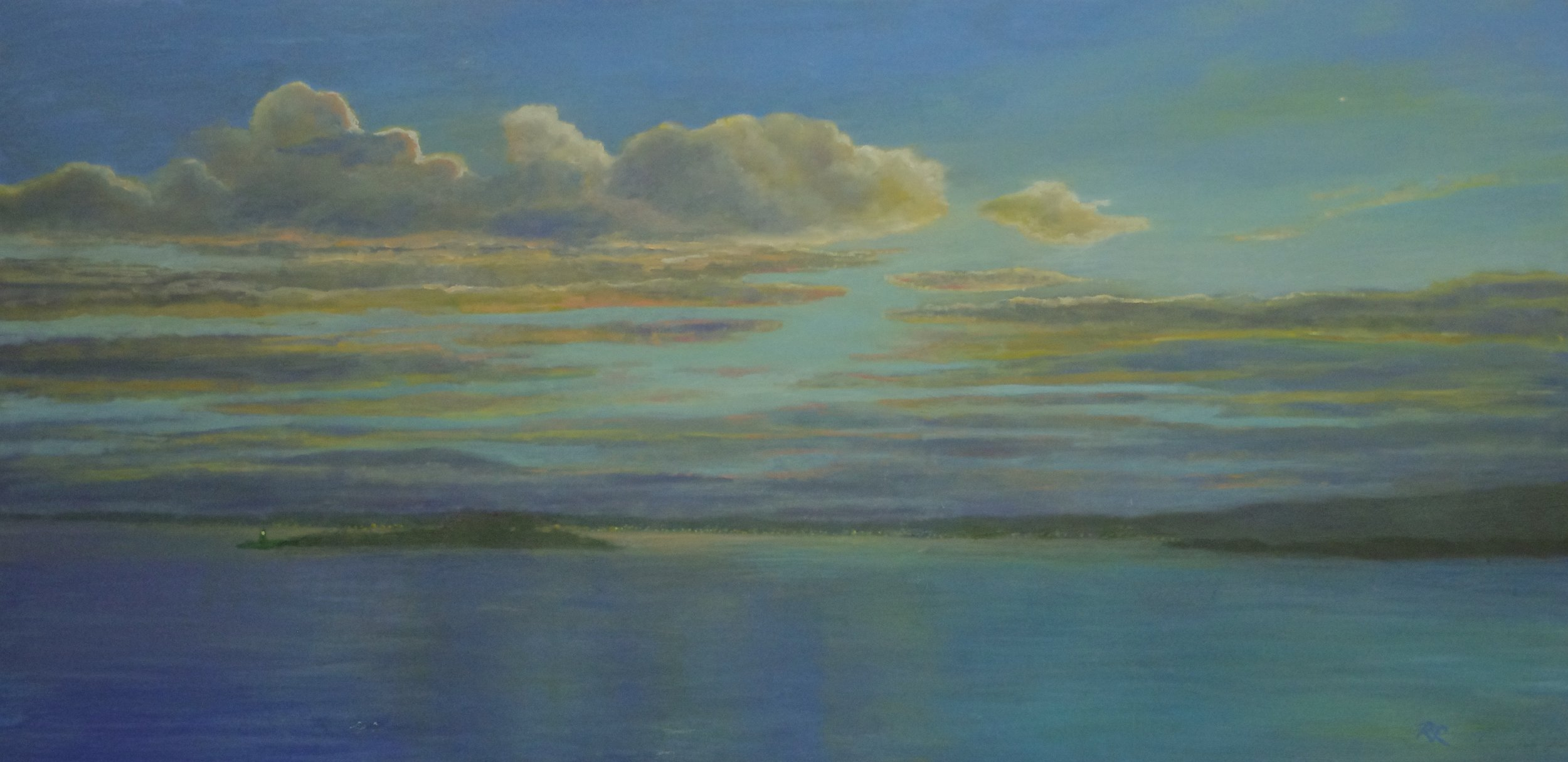 Merry and Bright;  oil on deep canvas 30 x 60; $1500