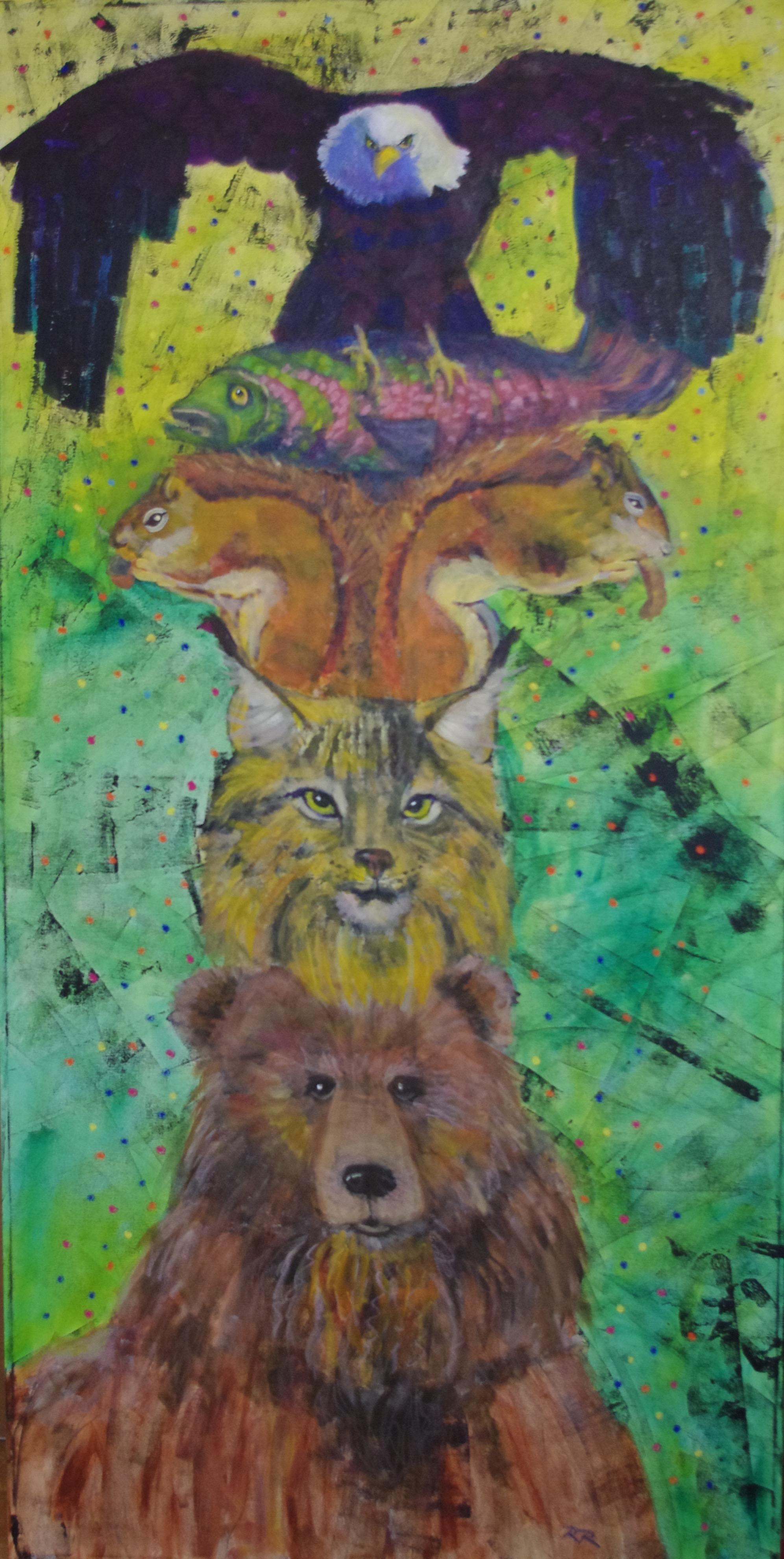 Wild Totem  Mixed Media on canvas, 30 x 60 $1200