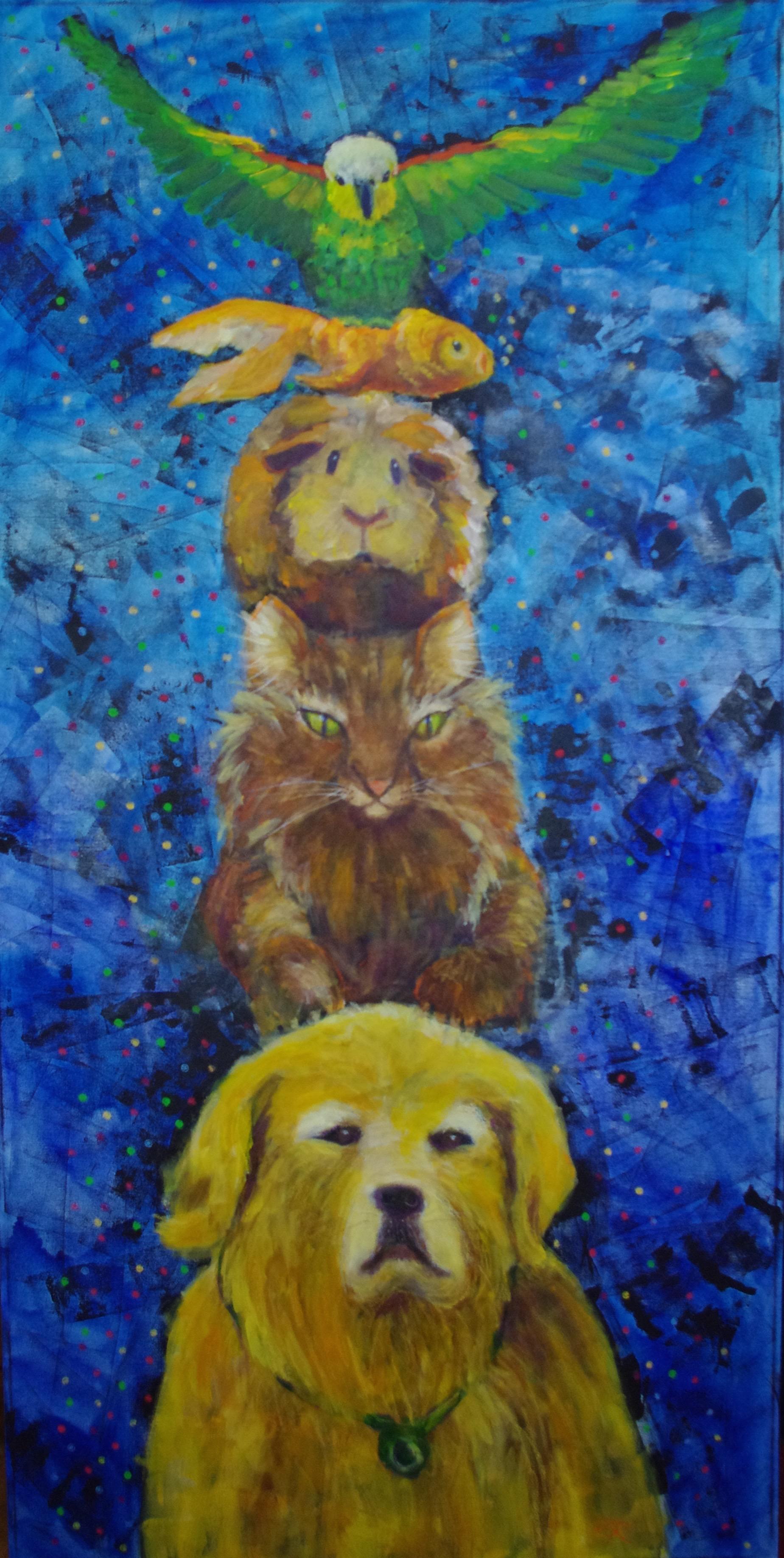 Pet Totem  Mixed Media on canvas, 30 x 60 $1200
