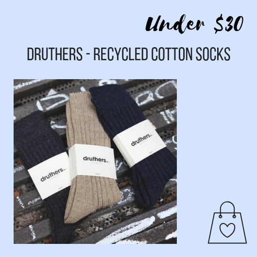For the men on your list, druthers make organic and recycled cotton socks for men. They also make boxers & briefs using Recover Yarn, a combination of recycled cotton and polyester sourced from plastic bottles. I love a brand that's committed to sustainable sourcing and manufacturing methods.