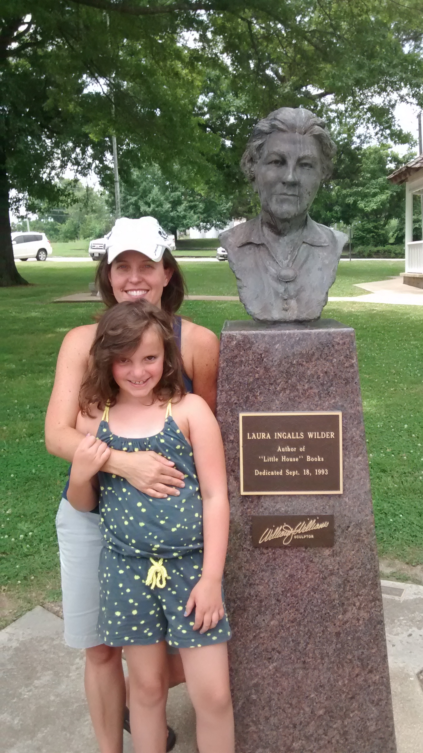 We did take one picture in front of the bust of Laura in the town center of Mansfield.