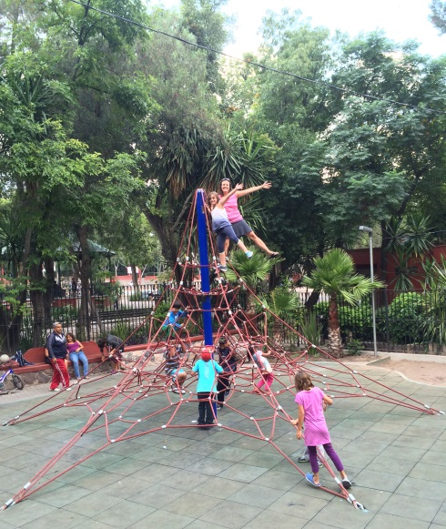 We loved the variety of the play equipment which included outdoor music equipment, toddler structures, and baby swings.