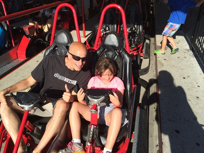 Elle loved it when Ken went as fast as he could, especially on the downhill part. No helmuts.