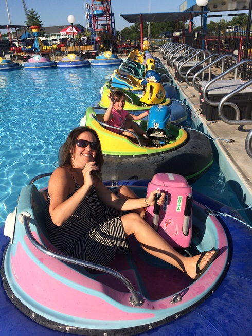 My thumb is on the squirt gun part of the boat. We had more fun spraying each other than actually driving the boats.
