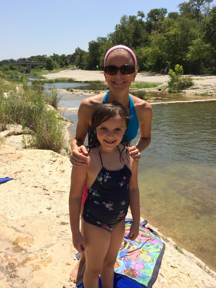 Elle with our friend Kate at the Blue Hole