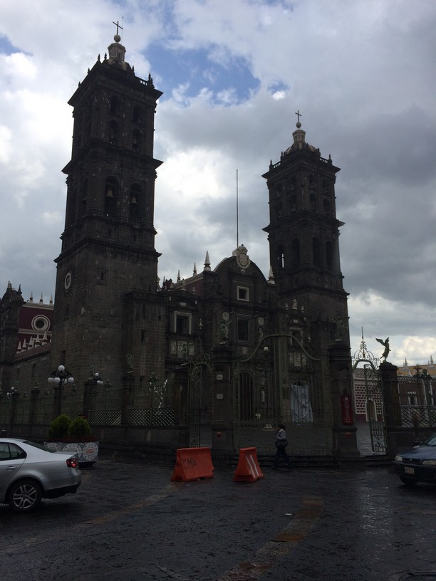 Outside the colonial Roman Catholic Church named Puebla Cathedral