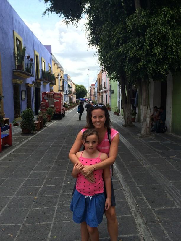 The girls in a street in Puebla