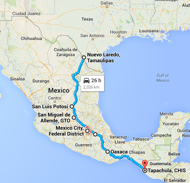 The route we took through the country. 2,326 kilometers or 1,445 miles. We did not do it in 26 hours.