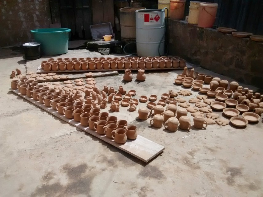 Pottery drying in the sun.