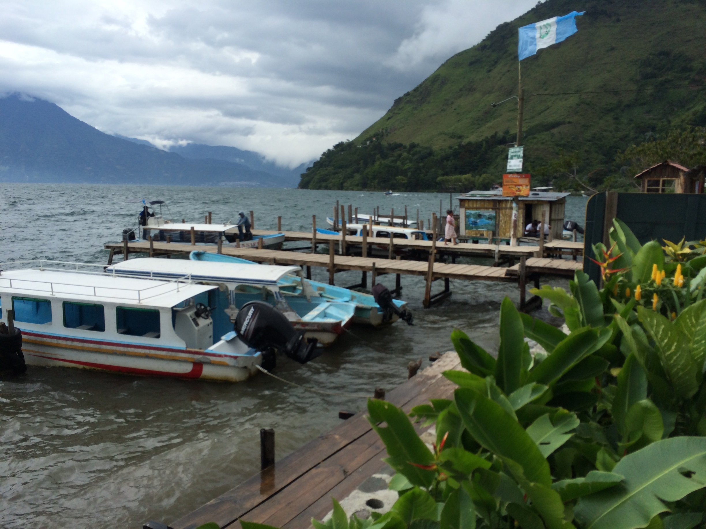 We arrived around 3 pm. Lake Atitlan is pretty choppy in the afternoon.