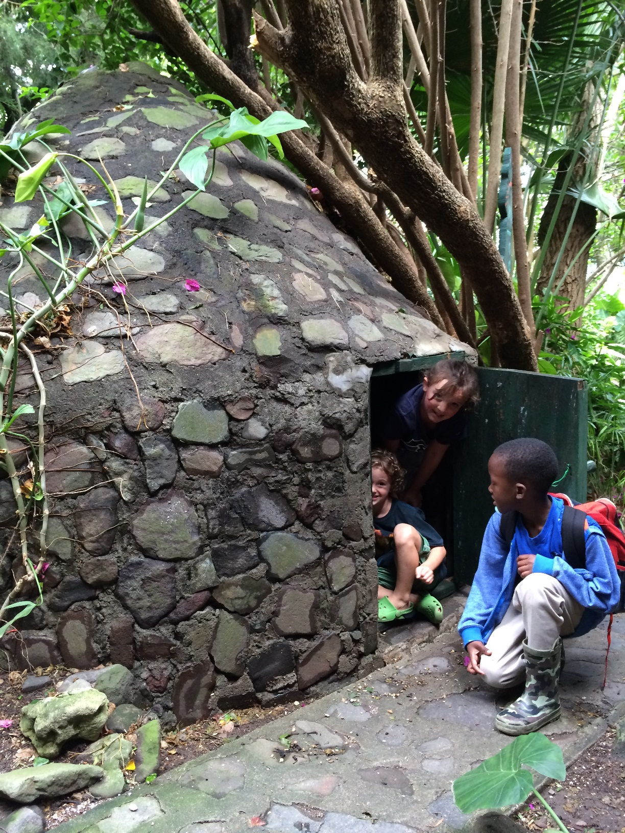 The Hobbit House at La Iguana. Guests are welcome to build a fire in the house and enjoy a traditional steam. The kids liked playing in it.