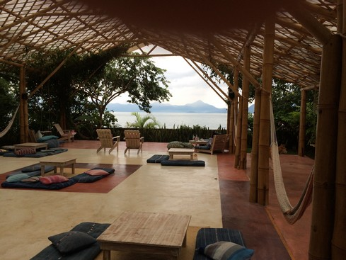 A yoga studio and relaxation space. This hotel doesn't mind if others use it when it's empty.