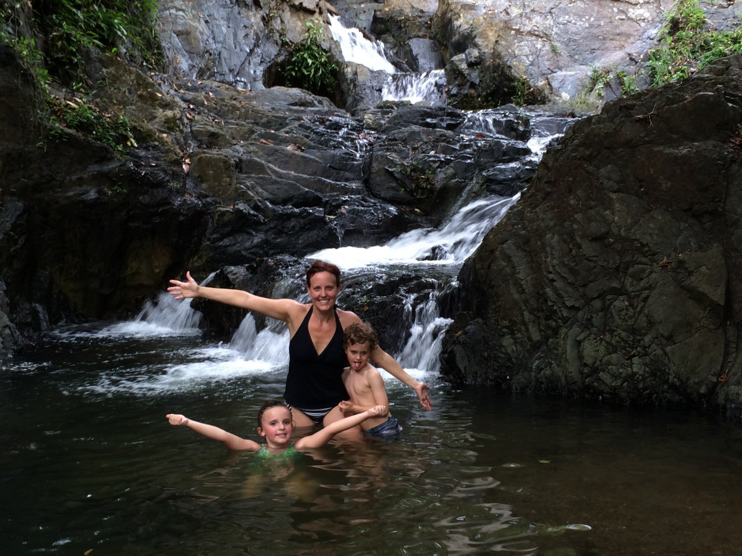 The hike was a little over a mileand it was hot. The dip in this natural waterfall was just what we needed. Since there was no one else anywhere near, Tag decided to swim in the buff shortly after this picture was taken.