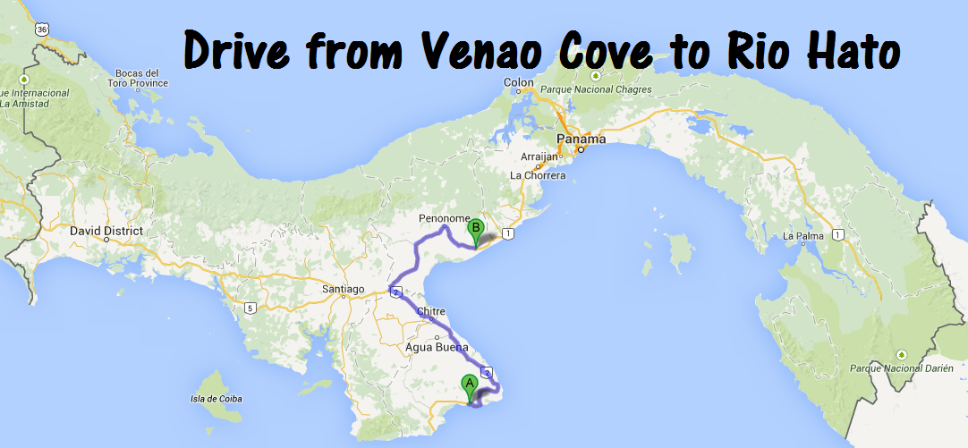 AlthoughRio Hato is located half-way between Venao Cove and Panama City, the drive is at least double from Rio Hato to Venao Cove. We played pothole frogger on many of the roads.