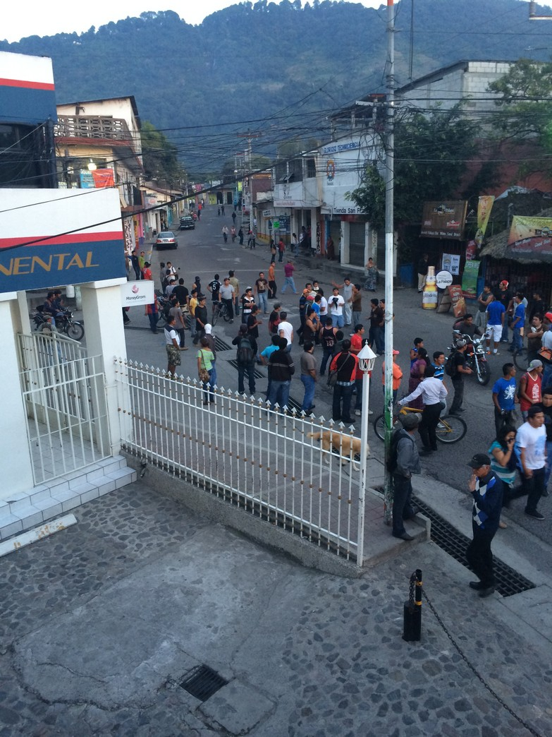 The riots were taking place down thisstreet. There was a clear understanding that it was not safe to go that direction.
