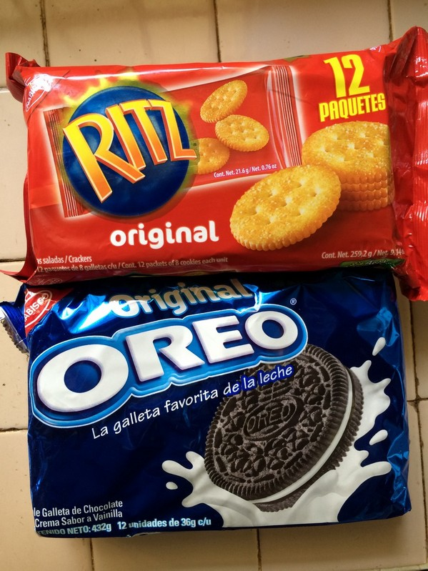 Ritz and Oreo's are easy to find at stores. Our kids love them.