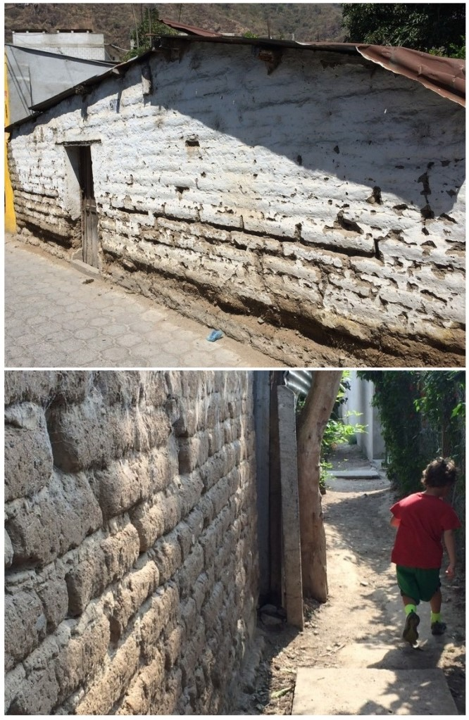 Mud bricked buildings. The top pic is from a house in town, the lower pic is of the outer wall of our kid's school.