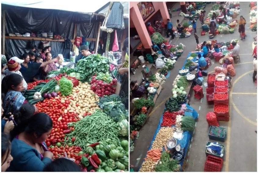 scores of fresh fruits and veggies were littered throughout the market