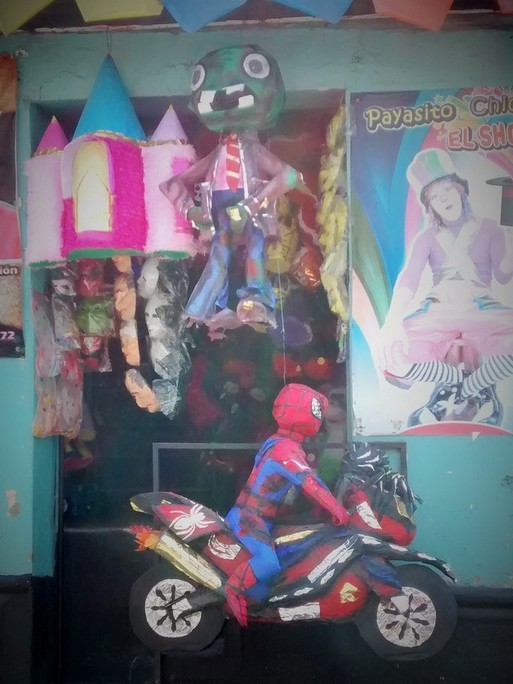 plants vs. Zombies and spiderman on a motorcycle pinatas for sale