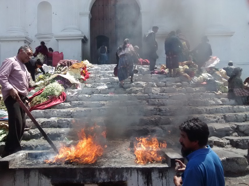 The front of Santo Thomas Church. I'm unsure of the purpose of the fire.