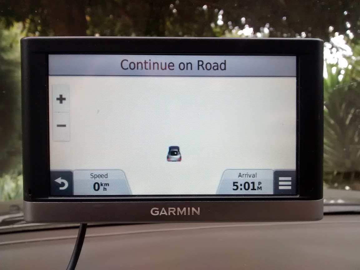 The map on the GPS did not even have a road to show