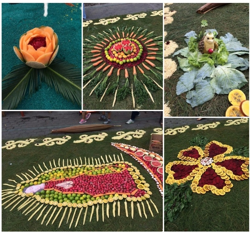 I lovedthe vivid colors and symmetryof the fruit, vegetables and grain used in these carpets.