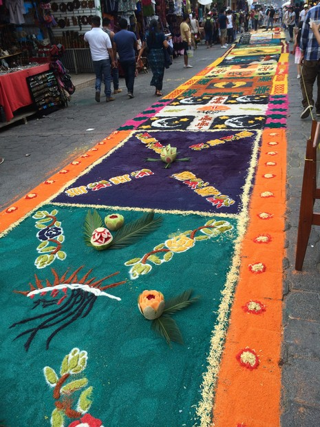 About two hours after we took this picture, the procession walked down this road. They couldn't have AVOIDED walking on the carpetas the streets are narrow and the processions werewide.