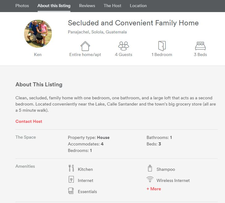 Our listing on airbnb