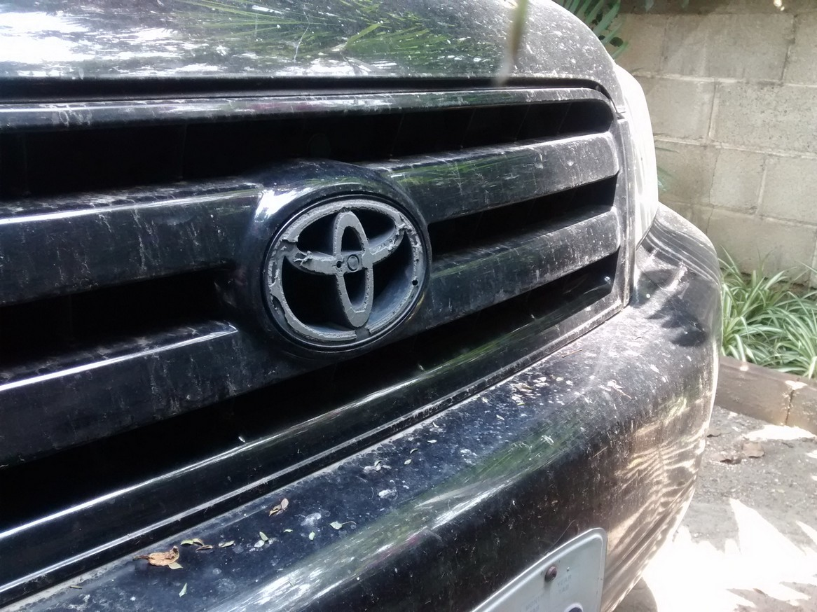 Having the Toyota logo peeled off the front of thecar while it was parked in a public lot hasbeen the only thing that's happened to the car to date. And that is minor wear and tear compared to Mick driving the car on a daily basis in the States.Do you remember our back bumper?