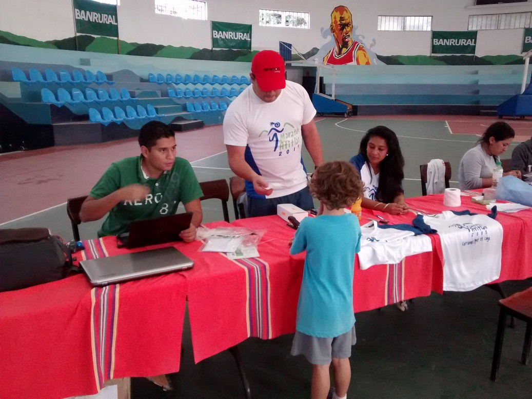 Tag registering for his first race, the Atitlan Maraton 5K